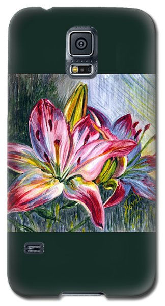 Galaxy S5 Case featuring the painting Lilies Twin by Harsh Malik
