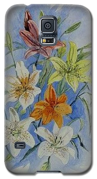 Galaxy S5 Case featuring the painting Lillies In The Primary by Kevin F Heuman
