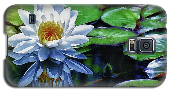 Galaxy S5 Case featuring the painting Lily And Dragon Flies by Elaine Manley