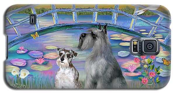 Galaxy S5 Case featuring the digital art Lily Bridge With Twoo Schnauzers by Jean B Fitzgerald
