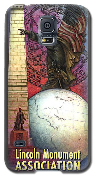 Galaxy S5 Case featuring the painting Lincoln Monuments Street Banners Civil War Flag Bearer by Jane Bucci