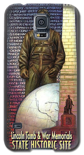 Galaxy S5 Case featuring the painting Lincoln Tomb And War Memorials Street Banners Korean War Pilot by Jane Bucci