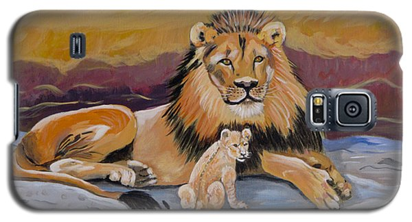 Galaxy S5 Case featuring the painting Lion And Cub by Phyllis Kaltenbach