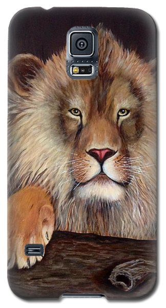 Galaxy S5 Case featuring the painting Lion by Renate Voigt