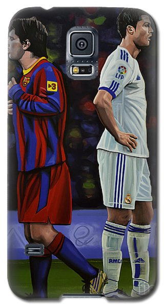 Lionel Messi And Cristiano Ronaldo Galaxy S5 Case by Paul Meijering