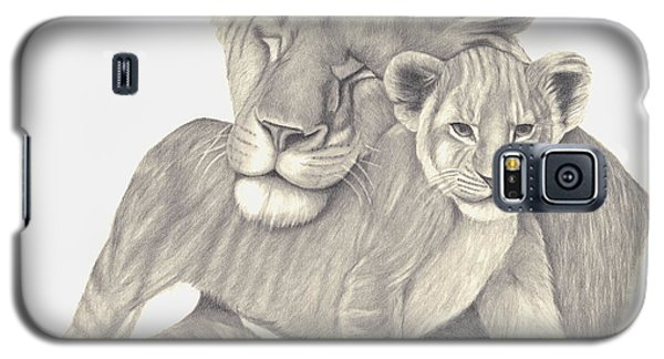 Galaxy S5 Case featuring the drawing Lioness And Cub by Patricia Hiltz