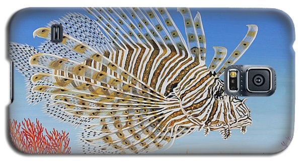 Galaxy S5 Case featuring the painting Lionfish And Coral by Jane Girardot