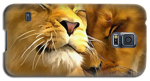 Galaxy S5 Case featuring the painting Lions In Love by Catherine Lott