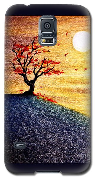 Galaxy S5 Case featuring the drawing Little Autumn Tree by Danielle R T Haney