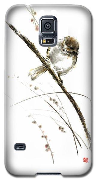 Little Bird On Branch Watercolor Original Ink Painting Artwork Galaxy S5 Case