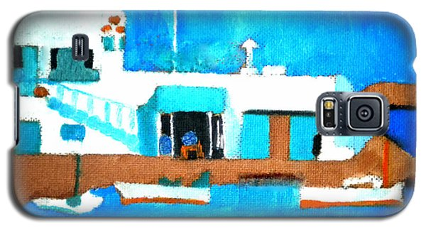 Galaxy S5 Case featuring the painting Paros  Cute Spot On Greek Island by Colette V Hera  Guggenheim