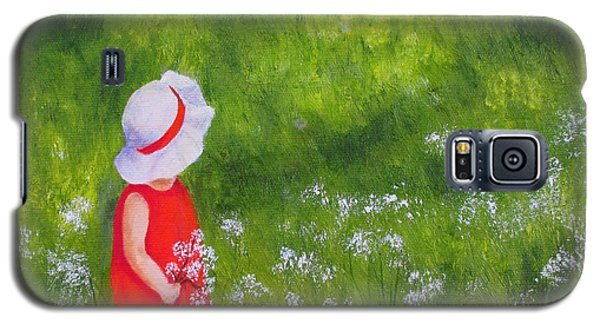 Galaxy S5 Case featuring the painting Girl In Meadow by Roseann Gilmore