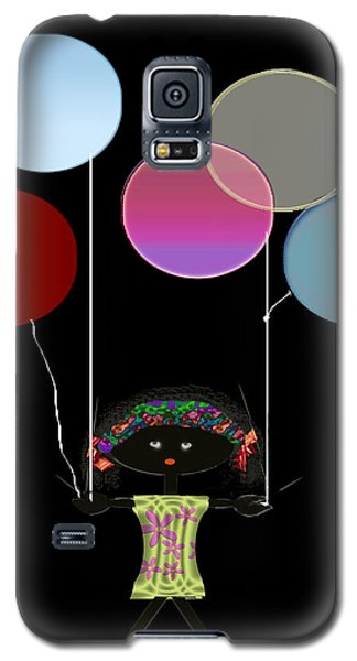 Galaxy S5 Case featuring the digital art Little Girl With Balloons by Asok Mukhopadhyay