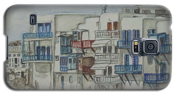 Galaxy S5 Case featuring the painting Little Venice Mykonos Greece by Malinda  Prudhomme