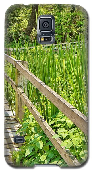 Galaxy S5 Case featuring the photograph Little Wooden Walking Bridge by Jean Goodwin Brooks