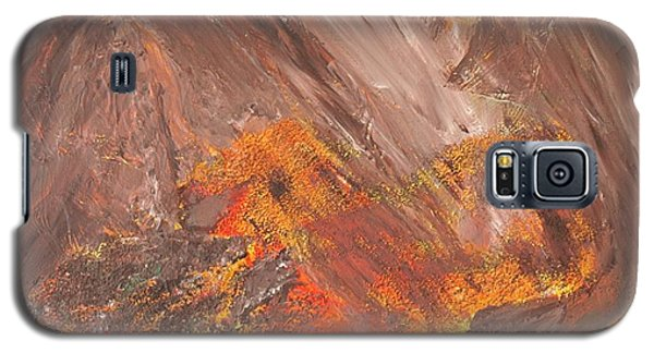 Galaxy S5 Case featuring the painting Living Earth-kneeling Buddha by Susan  Dimitrakopoulos