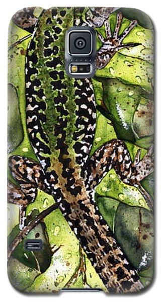 Galaxy S5 Case featuring the painting Lizard In Green Nature - Elena Yakubovich by Elena Yakubovich