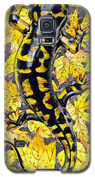 Galaxy S5 Case featuring the painting Lizard In Yellow Nature - Elena Yakubovich by Elena Yakubovich