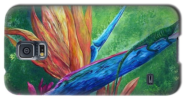 Galaxy S5 Case featuring the painting Lizard On Bird Of Paradise by Eloise Schneider
