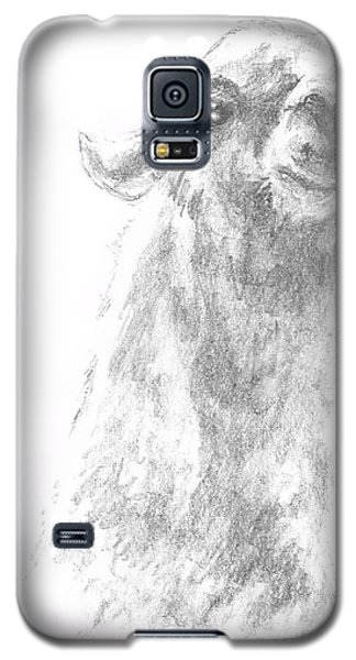 Galaxy S5 Case featuring the drawing Llama Close Up by Andrew Gillette