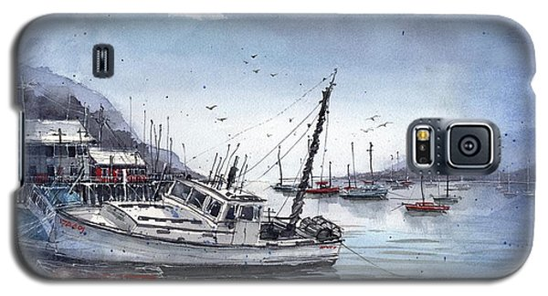 Galaxy S5 Case featuring the painting Lobster Boat At Low Tide by Tim Oliver