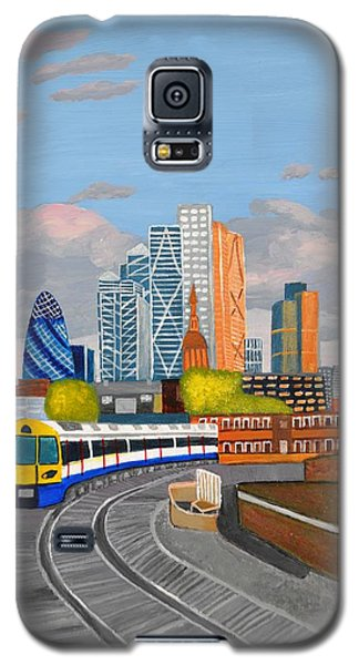 Galaxy S5 Case featuring the painting London Overland Train-hoxton Station by Magdalena Frohnsdorff