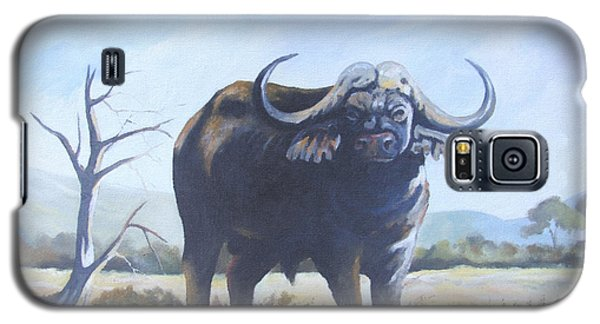 Galaxy S5 Case featuring the painting Lone Bull by Anthony Mwangi