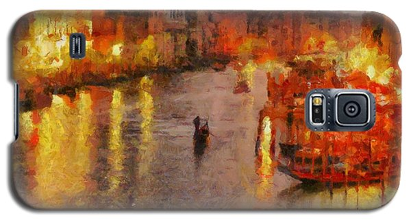 Galaxy S5 Case featuring the painting Lone Gondolier At Night by Kai Saarto