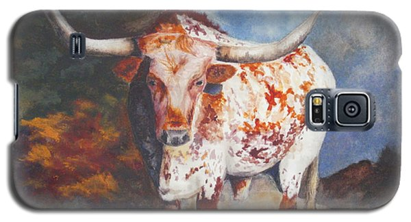 Galaxy S5 Case featuring the painting Lone Star Longhorn by Karen Kennedy Chatham