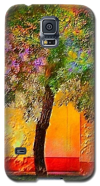 Lone Tree Against Orange Wall - Vertical Galaxy S5 Case