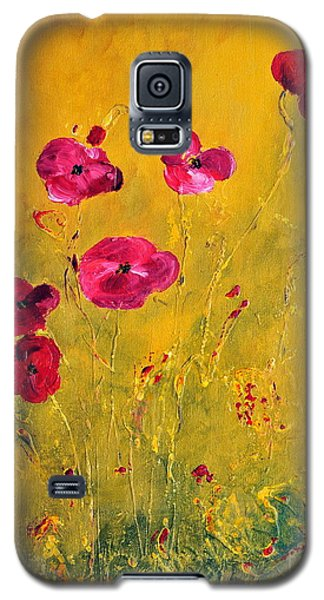 Galaxy S5 Case featuring the painting Lonely Poppies by Teresa Wegrzyn