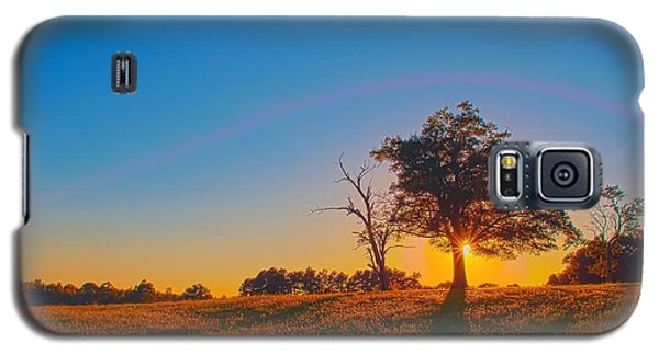 Galaxy S5 Case featuring the photograph Lonely Tree On Farmland At Sunset by Alex Grichenko