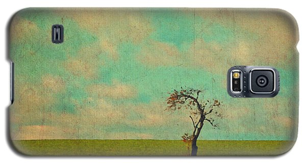 Lonesome Tree In Lime And Orange Field And Aqua Sky Galaxy S5 Case by Brooke T Ryan