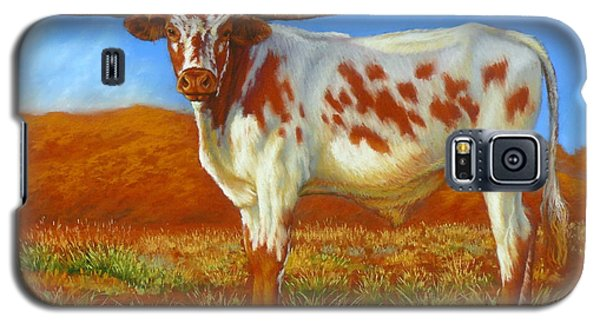Galaxy S5 Case featuring the painting Longhorn In The Australian Outback by Margaret Stockdale