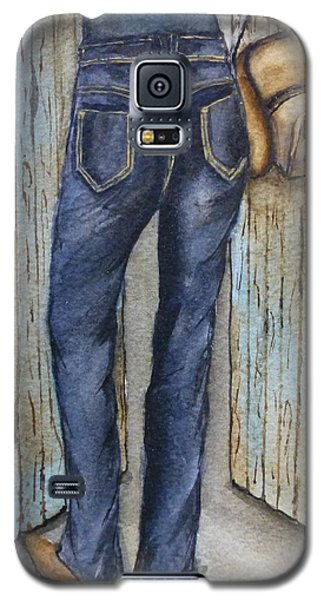 Galaxy S5 Case featuring the painting Blue Jeans A Hat And Looking Good by Kelly Mills
