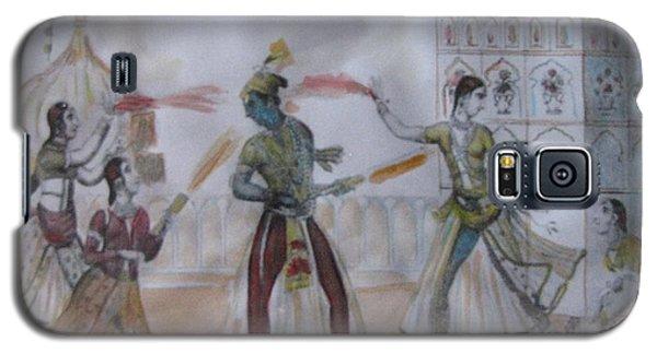Lord Krishna Playing Holi Galaxy S5 Case by Vikram Singh