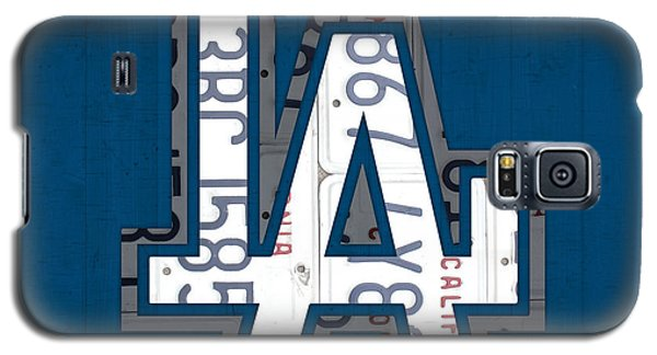 Los Angeles Dodgers Galaxy S5 Case - Los Angeles Dodgers Baseball Vintage Logo License Plate Art by Design Turnpike