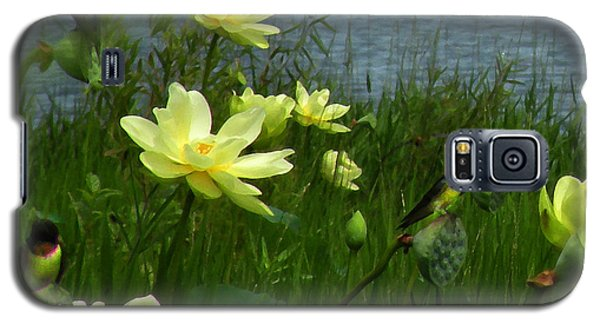 Galaxy S5 Case featuring the photograph Lotus And Swallows by Deborah Smith