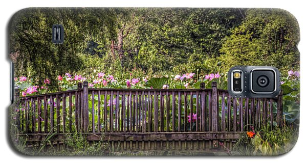 Galaxy S5 Case featuring the photograph Lotus Garden Pond And Bridge by Jerry Gammon