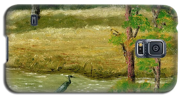 Galaxy S5 Case featuring the painting Louisiana Pond With Heron by Lenora  De Lude