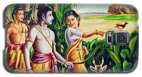 Galaxy S5 Case featuring the painting Love And Valour- Ramayana- The Divine Saga by Ragunath Venkatraman