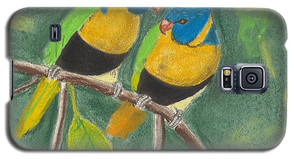 Galaxy S5 Case featuring the pastel Love Birds by David Jackson