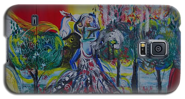 Galaxy S5 Case featuring the painting Love Dance In Five Panell by Sima Amid Wewetzer
