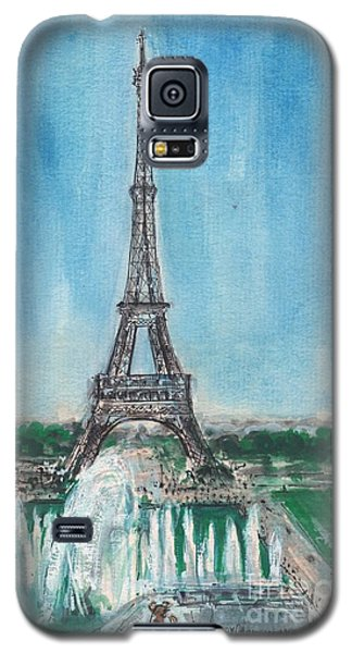 Galaxy S5 Case featuring the painting Love Of The Eiffel by Mary Armstrong