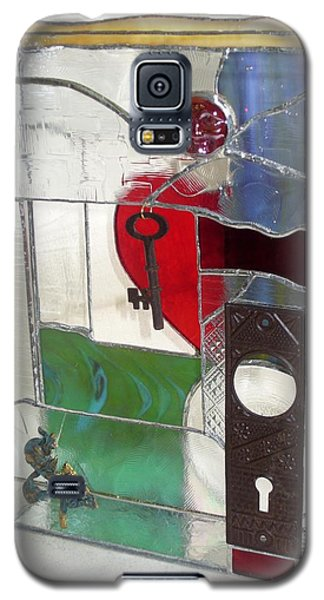 Galaxy S5 Case featuring the glass art Love Unlocks by Karin Thue