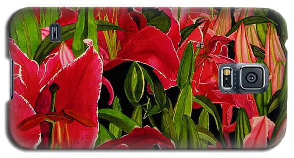 Galaxy S5 Case featuring the painting Lovely Lillies by Debi Singer