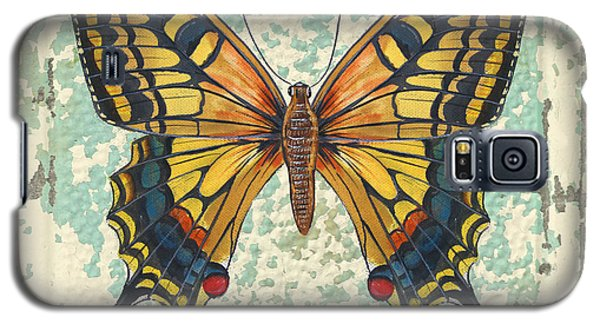 Lovely Yellow Butterfly On Tin Tile Galaxy S5 Case by Jean Plout