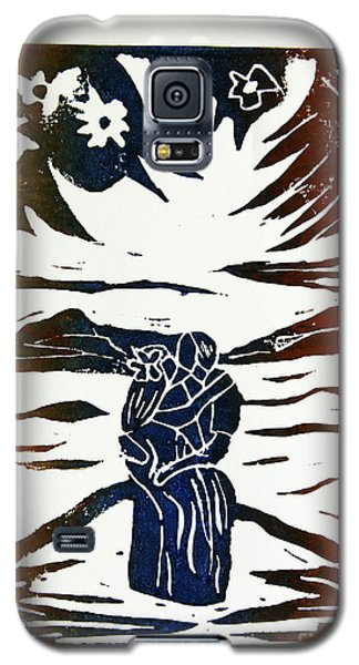 Lovers - Lino Cut A La Gauguin Galaxy S5 Case by Christiane Schulze Art And Photography