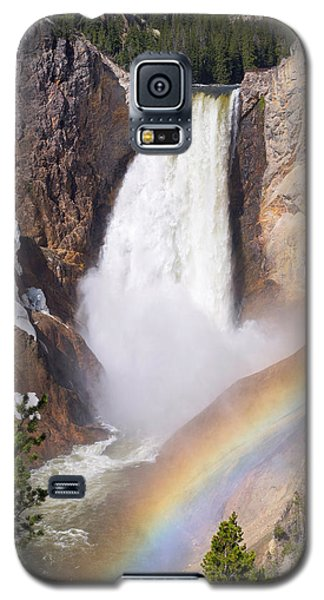 Galaxy S5 Case featuring the photograph Lower Falls With Rainbow - Yellowstone National Park by Aaron Spong