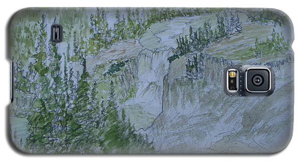 Galaxy S5 Case featuring the painting Lower Mesa Falls A Watercolor Sketch by Joel Deutsch